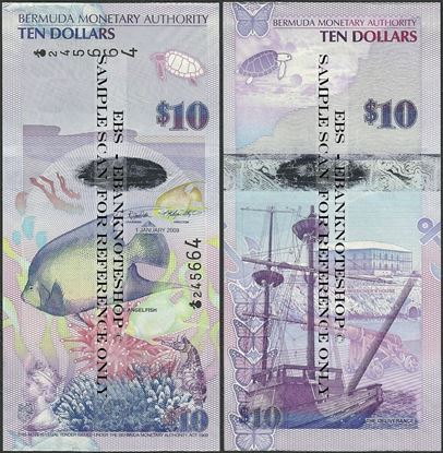 Picture of Bermuda,P59,B232a,10 Dollars,2009,Onion Prefix