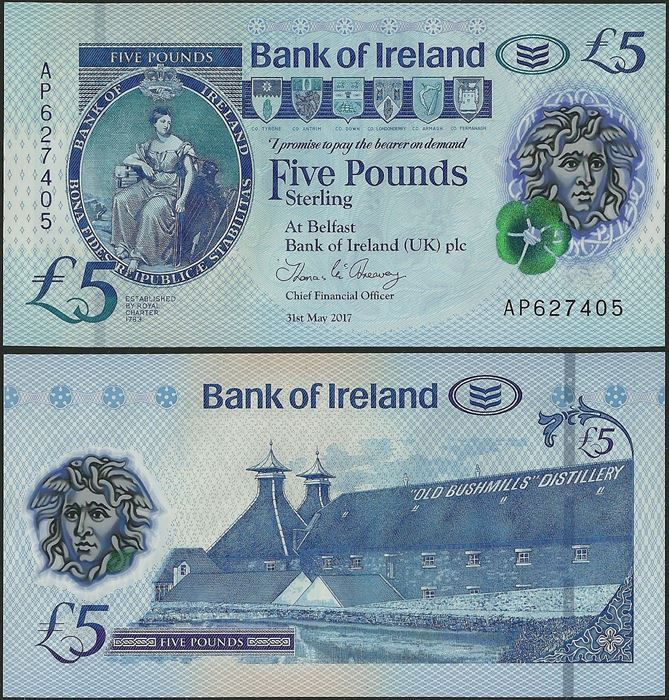 Picture of Northern Ireland,PNL,B136a,5 Pounds,2019,Bank of Ireland