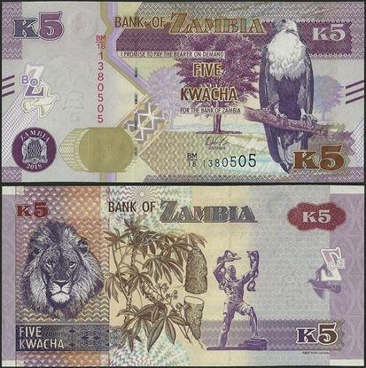 Picture of Zambia,B166a,5 Kwacha,2018