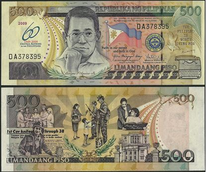Picture of Philippines,P204a,B1060,500 Piso,2009,Comm,60 Annv