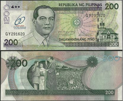 Picture of Philippines,P203a,B1059,200 Piso,2009,Comm,60 Annv