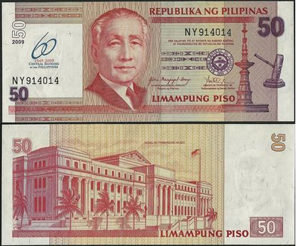 Picture of Philippines,P201a,B1057,50 Piso,2009,Comm,60 Annv