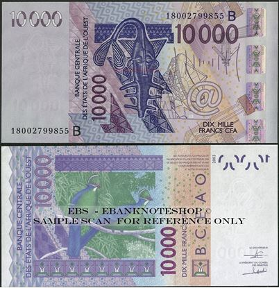 Picture of WAS B Benin,P218B, B124Br,10000 Francs,2018