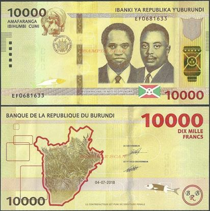 Picture of Burundi,B240b,10000 Francs,2018