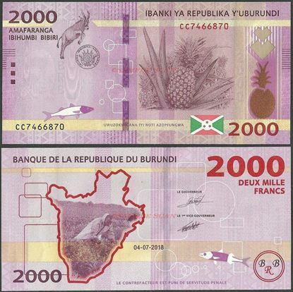 Picture of Burundi,B238b,2000 Francs,2018
