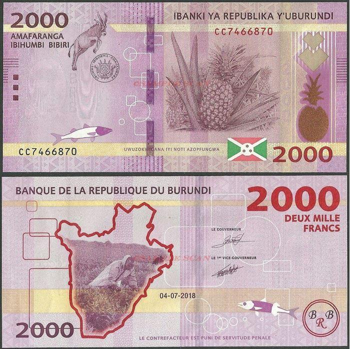 Picture of Burundi,B238b,2000 Francs,2018