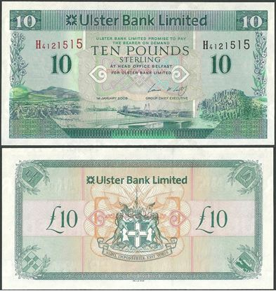 Picture of Northern Ireland,P341,B937b,10 Pounds,2008,Ulster