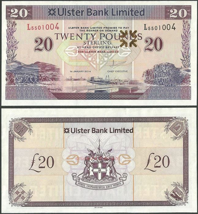 Picture of Northern Ireland,P342,B938f,20 Pounds,2014,Ulster
