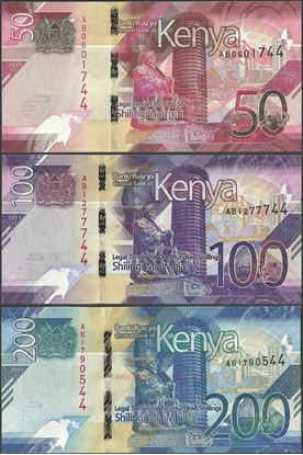 Picture of Kenya,3 NOTE SET,B144-B146,350 Shillings,2019