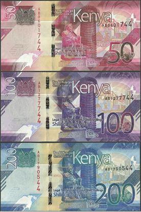 Picture of Kenya,3 NOTE SET,B144-B146,350 Shillings,2019