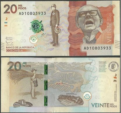 Picture of Colombia,P461b,20 000 Pesos,2016,AD