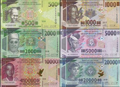 Picture of Guinea,SET,B339 -B344,500 -20000 Francs,2015-2019