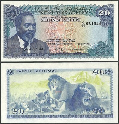 Picture of Kenya,P17,B117a,20 Shillings,1978