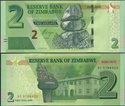 Picture of Zimbabwe,P099,B190,2 Bond Dollars,2016