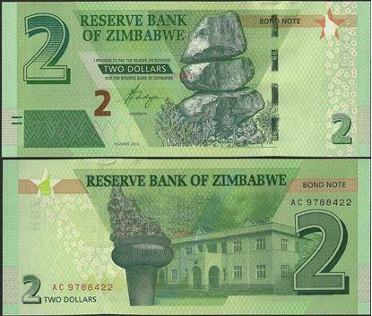 Picture of Zimbabwe,P099,B190,2 Bond Dollars,2016