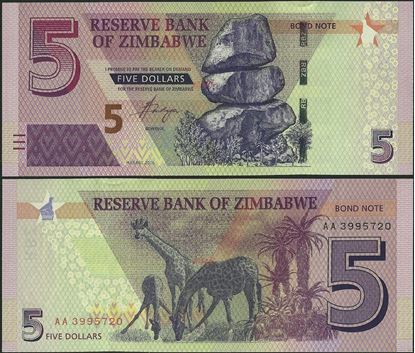 Picture of Zimbabwe,P100,B191,5 Bond Dollars,2016
