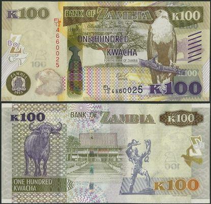 Picture of Zambia,P61,B164,100 Kwacha,2015,bleed lines