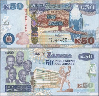 Picture of Zambia,P55,B158,50 Kwacha,2014,Comm