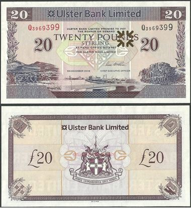 Picture of Northern Ireland,P342h,B938i,20 Pounds,2018,Ulster,Q Prefix,Sg 11