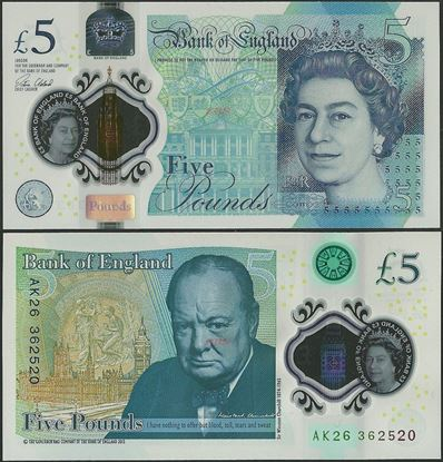 Picture of England,P394,B203,5 Pounds,2015,Polymer