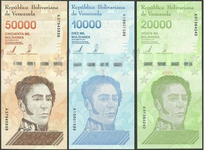 Picture of Venezuela,3 SET - B379-B381,80 000 Bolivares,2019