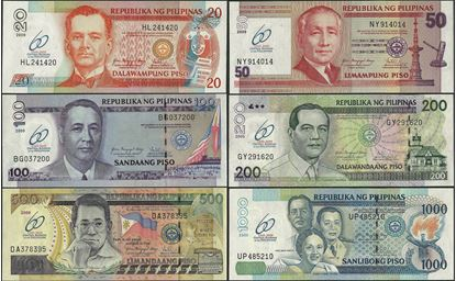 Picture of Philippines,P200-P205a,B1056-B1061,20-1000 Piso,2009,Comm SET,60 Annv