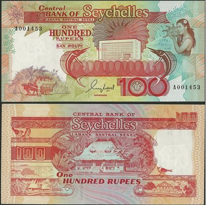 Picture of Seychelles,P35,B408a,100 Rupees,1989,A prefix