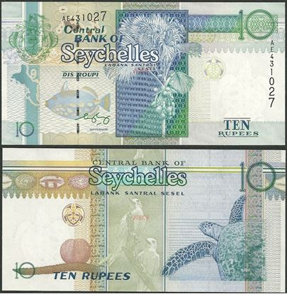 Picture of Seychelles,P36,B409b,10 Rupees,1998