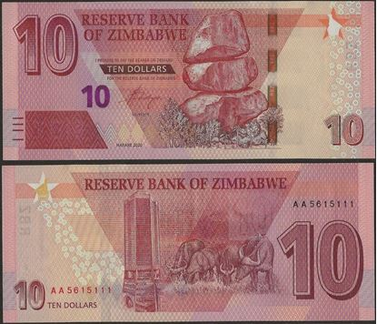 Picture of Zimbabwe,B194,10 Dollars,2020
