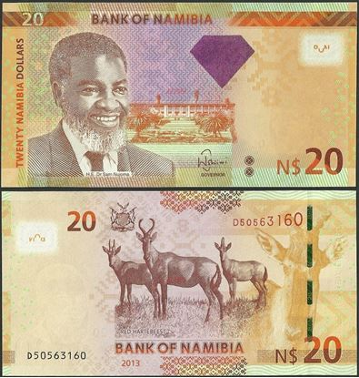 Picture of Namibia,P12b,B215,20 Dollars,2013