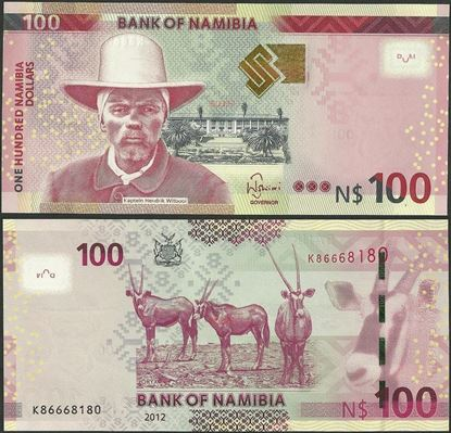 Picture of Namibia,P14,B212,100 Dollars,2012