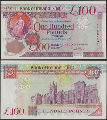 Picture of Northern Ireland,P82,B128b,100 Pounds,2005,Bank of Ireland
