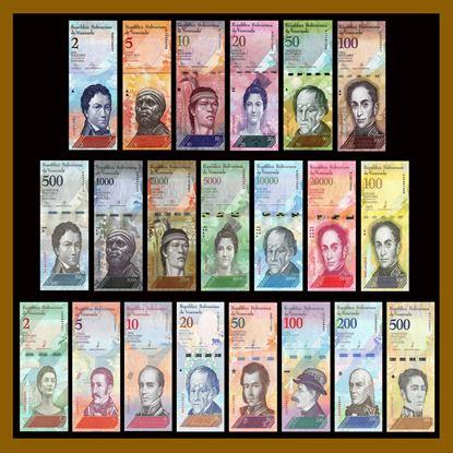 Picture of Venezuela,P88-P108,21 note set,2 Bolivares to 500 Bolívar Soberano, 2018