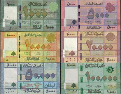 Picture of Lebanon,SET,P90-P95,B533-B547,186k Livres
