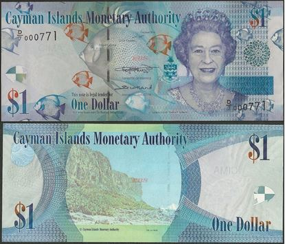 Picture of Cayman Islands,P38c,B218c,1 Dollars,LOW SERIAL