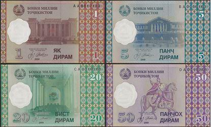 Picture of Tajikistan,P10-13,B209b,1-50 Diram,4 NOTE SET