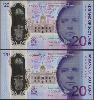 Picture of Scotland, 20 Pound,Matching Pair ,with folder