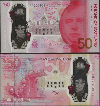 Picture of Scotland, 50 Pound,AA Low serial with folder