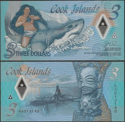 Picture of Cook Islands,B111a,3 Dollars,2021