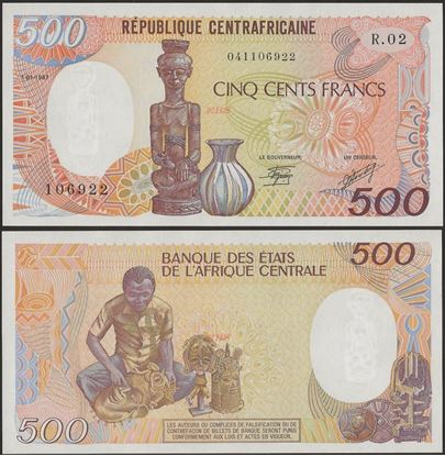 Picture of Central African Republic,P14c,B110c,500 Francs,1987