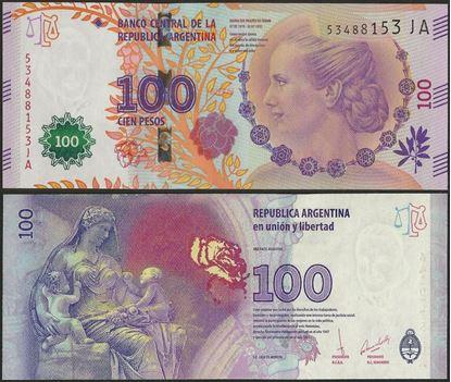 Picture of Argentina,P358d,B413b,100 Pesos,2017,Eva Peron,Comm,JA Prefix