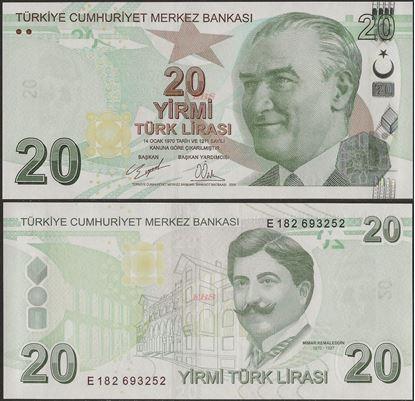 Picture of Turkey,P224d,B302d,20 Lira,E Prefix