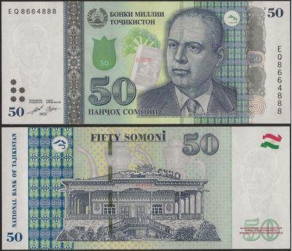 Picture of Tajikistan,PNL,B219b,50 Somoni,2021